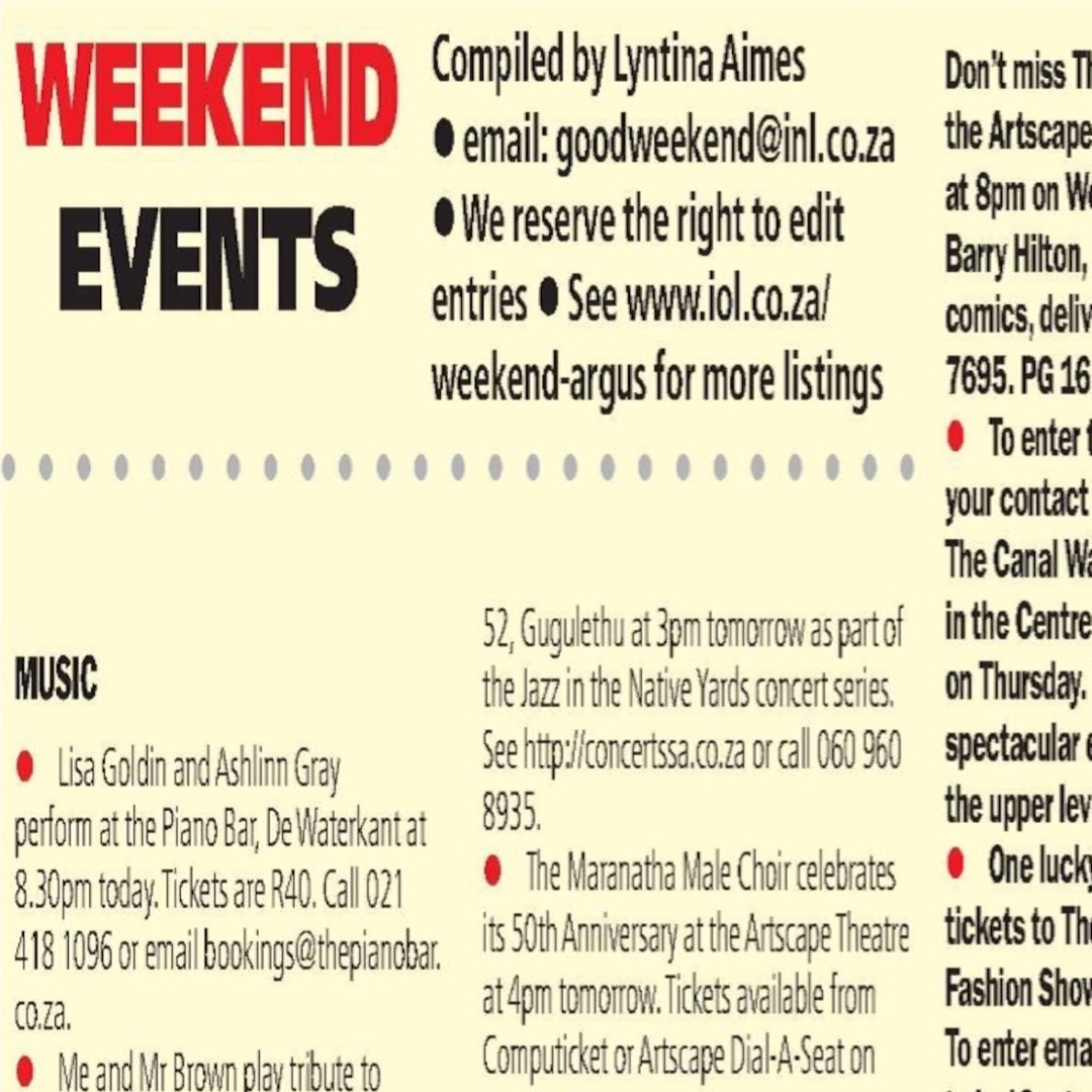 Cape Town Weekend Events