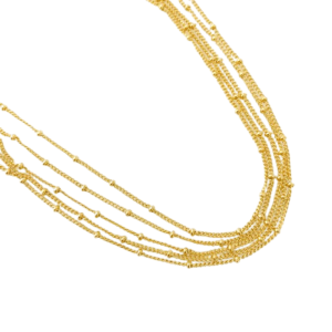 Beaded 5 Layered Gold Necklace, 5 Beaded Layered Gold Necklace Product Image
