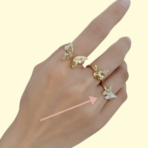 Butterfly Gold Ring , gold ring on model
