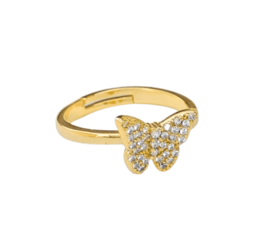 Gold Butterfly Ring, gold ring on model