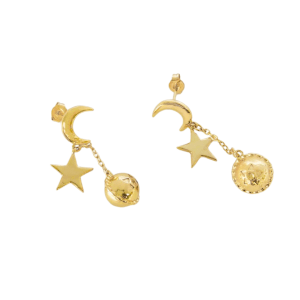 Moon and star gold earring, gold earring on model