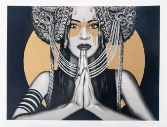 'Sun Goddess II' - Fin Dac + Kevin Ledo, 11 colour screen print. Produced for Graffiti Prints, 2018