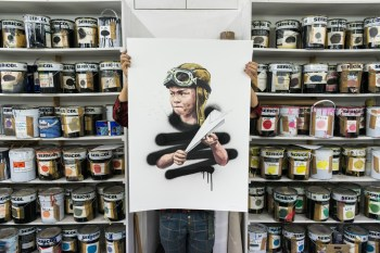 'No Fly Zone' by Ernest Zacharevic - Hand finished 21 layer screenprint - 2017