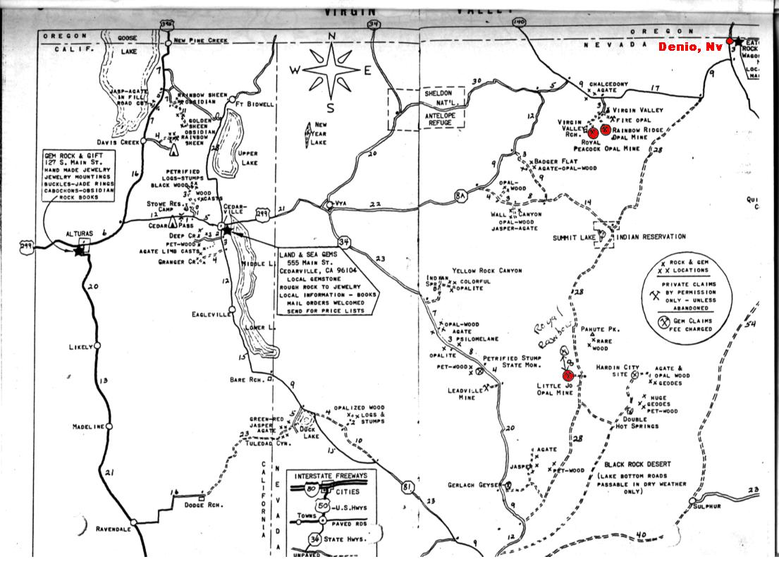 Nevada Rockhounding Map Bnhspine