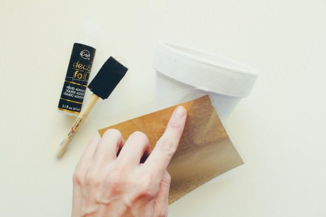 DIY Marbled Gold Foil Planters By Gold Standard Workshop