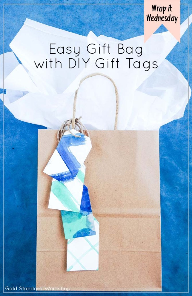 Wrap It Wednesday Easy Gift Bag With Diy Gift Tags Gold