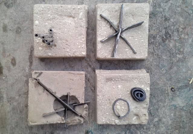Concrete and metal fossil experiments