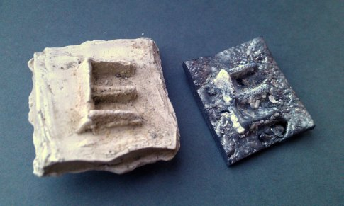 Mould made from plaster from clay negative; lead poured into wet sand mould made from plaster positive