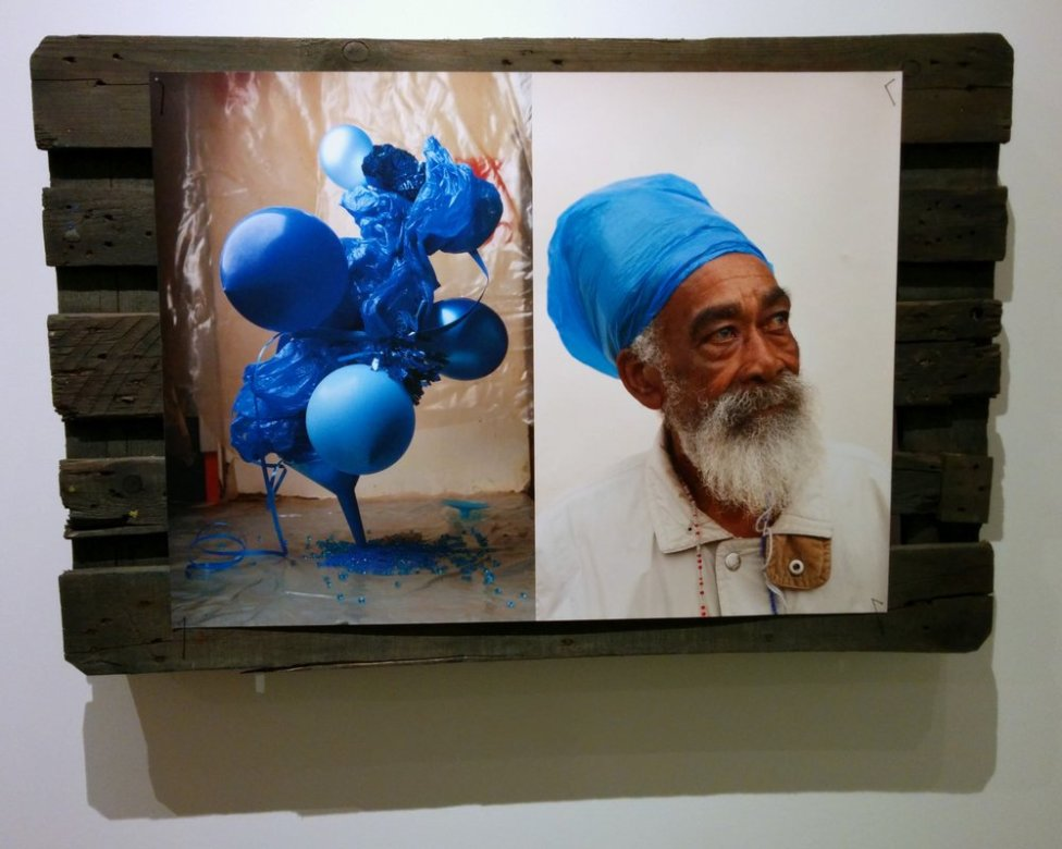 Plastic Blue #1 & 2; Still lives are combined with portraits of local people