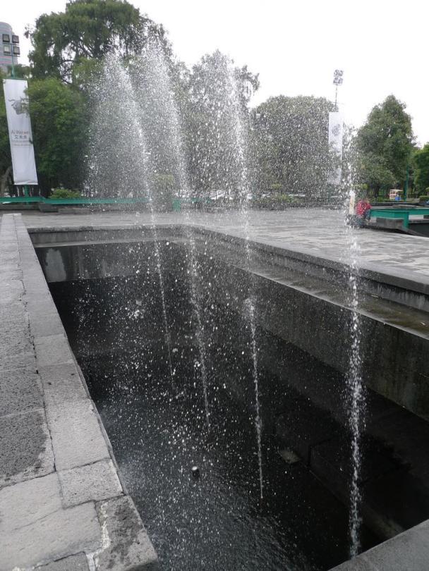 Sunken fountain; unusual as its pool starts in the floor below.