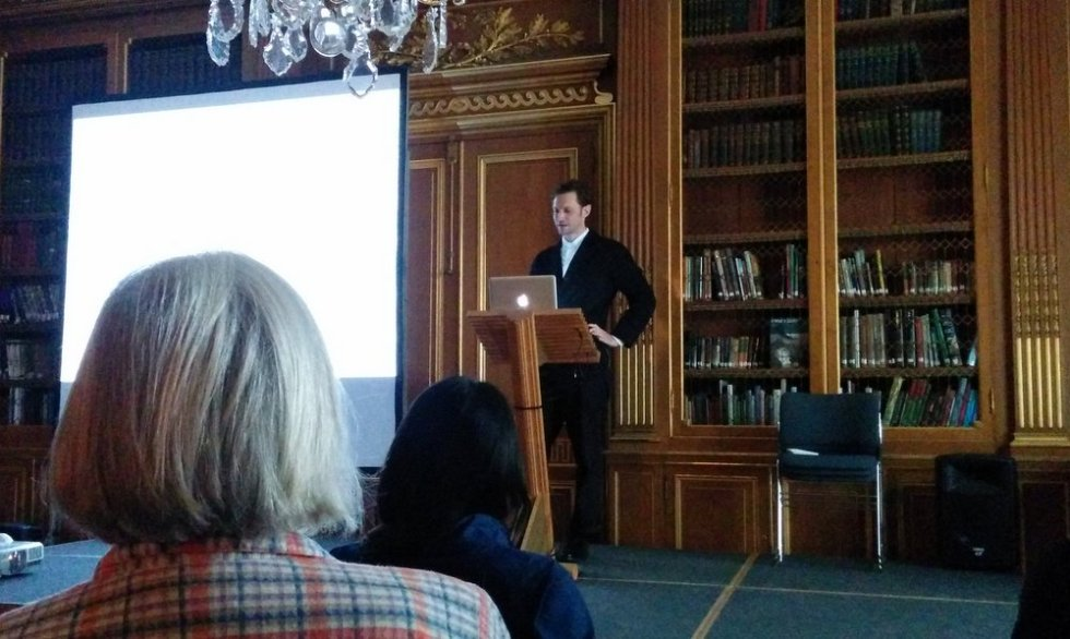 Umberto Bellardi Ricci talking at 'Edward James in Mexico' symposium