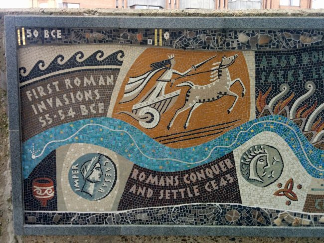 Detail of Queenhithe mosaic: Romans and Boudicca