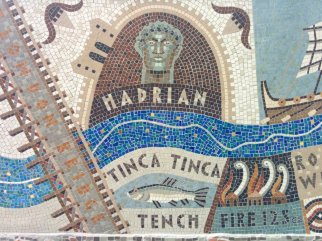 Detail of Queenhithe mosaic: Hadrian and tench