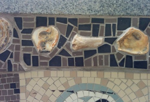 Detail of Queenhithe mosaic: bones embedded into the mosaic