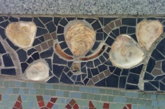 Detail of Queenhithe mosaic: Oyster shells embedded into the mosaic