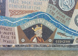 Detail of Queenhithe mosaic: Alfred the Great