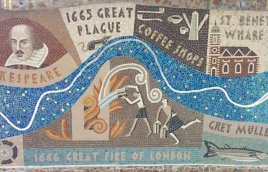 Detail of Queenhithe mosaic: Plague, Fire and coffee