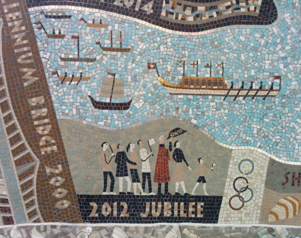 Detail of Queenhithe mosaic: Millennium bridge, Olympics and Diamond Jubileee