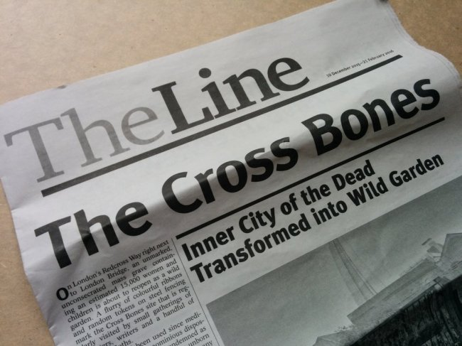 The Line - exhibition newspapers from Katrina Palmer's The Necropolitan Line