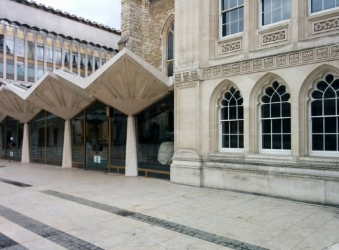 The old and the new; Guildhall's 14C building abutting the Library built in 1974 by Sir Giles Scott, Son and Partners