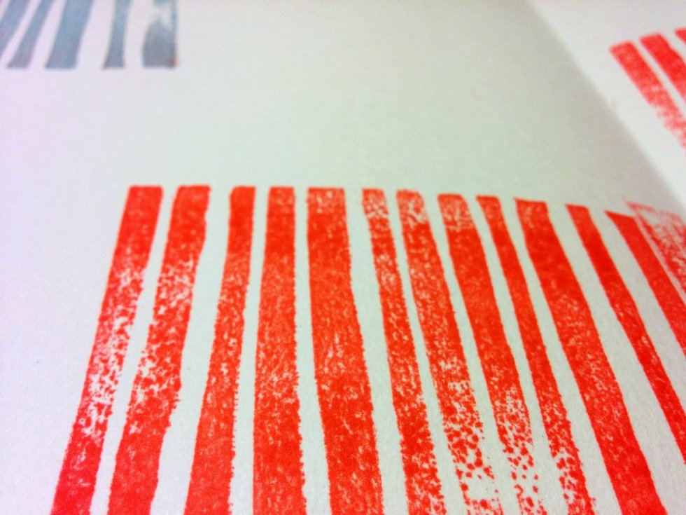 Sketchbook Circle 2016 - January pages: carved rubber stamped lines