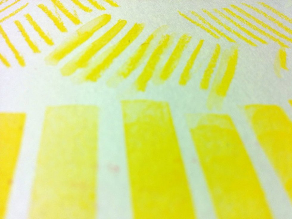 Sketchbook Circle 2016 - January pages: yellow hatching marks