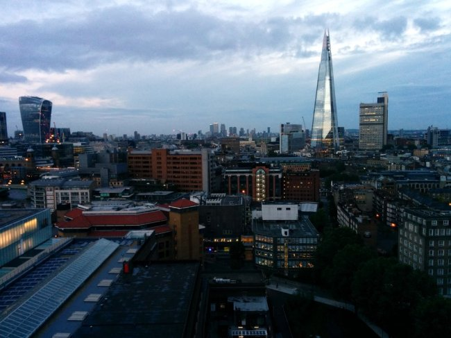 View of London from the Switch House viewing level with The Shard to the right, and the Walkie Talkie building to the left