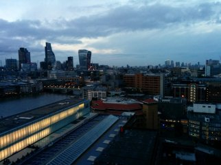 View of London from the Switch House viewing level with the Tate's Boiler House buildin below and the Cheese Grater and Walkie Talkie buildings in the distance