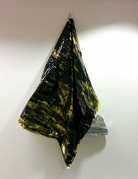 'Starling Wing' Hung out to dry - rescue blanket and black gloss paint
