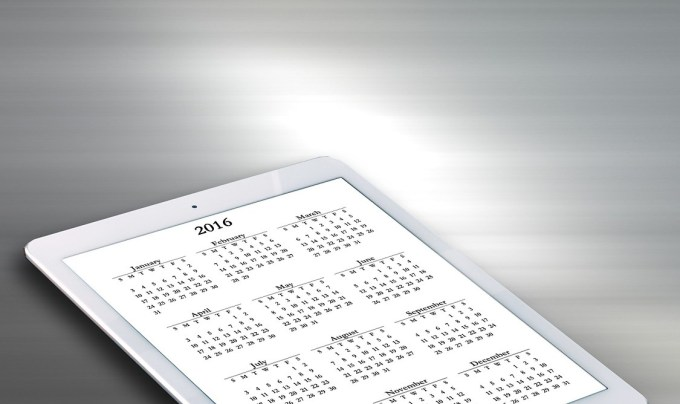 2016 Calendar on tablet