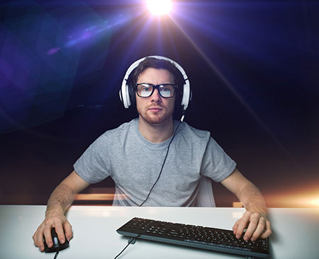 gamer at desk