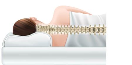 illustration of woman lying on side and her spine alignment