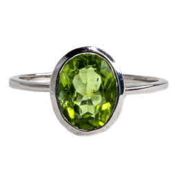 Peridot Silver Plated Ring