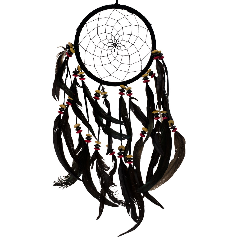 Black Dreamcatcher with Beaded Linked Feathers