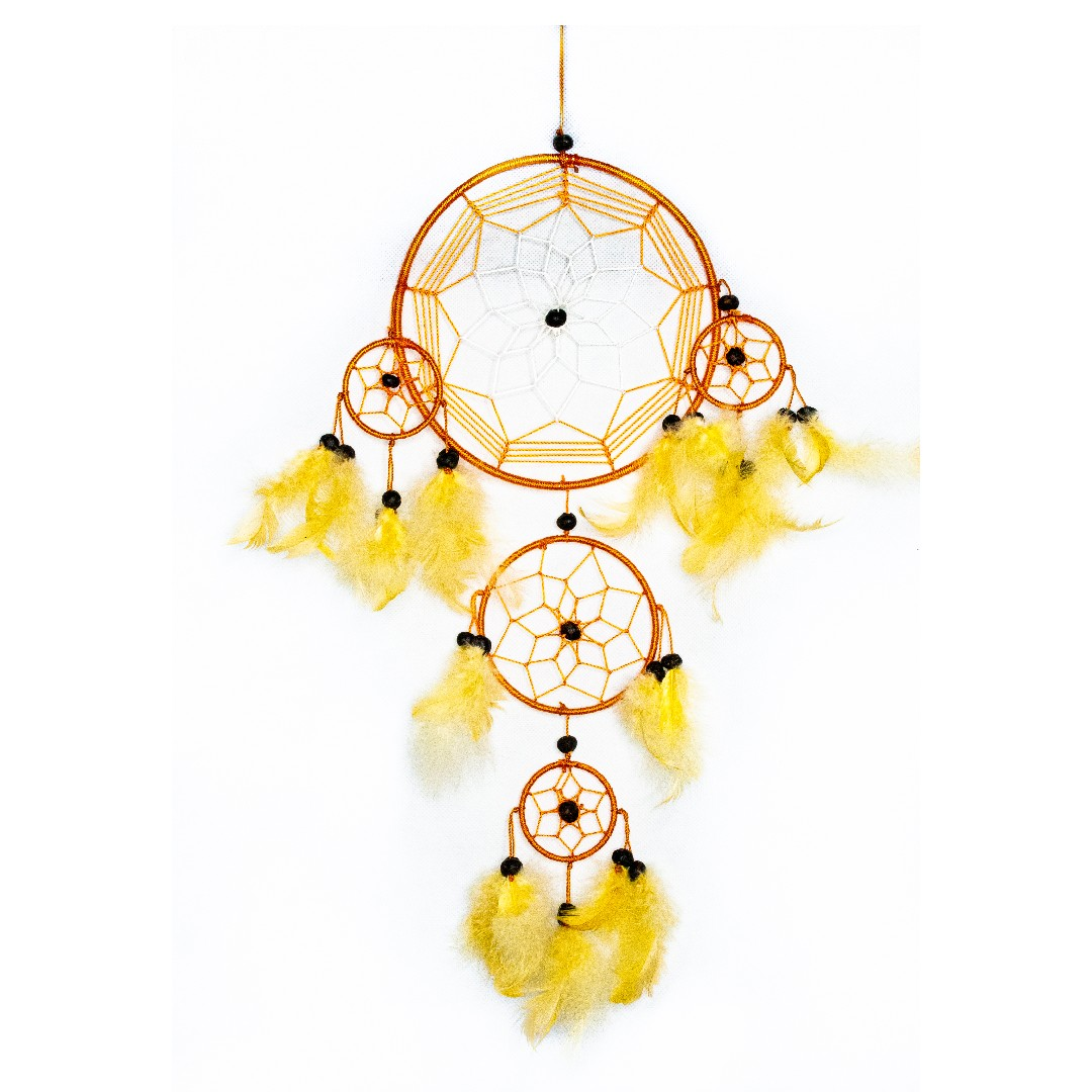 Star webbed Brown and Yellow Feathered Dreamcatcher