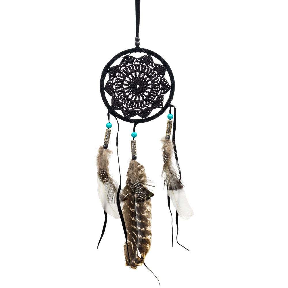 Small Black Dreamcatcher with Silver and Gemstone Beads