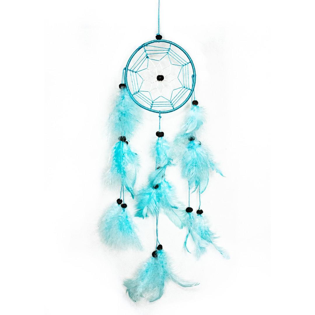 Light Blue Feathered Small Dreamcatcher