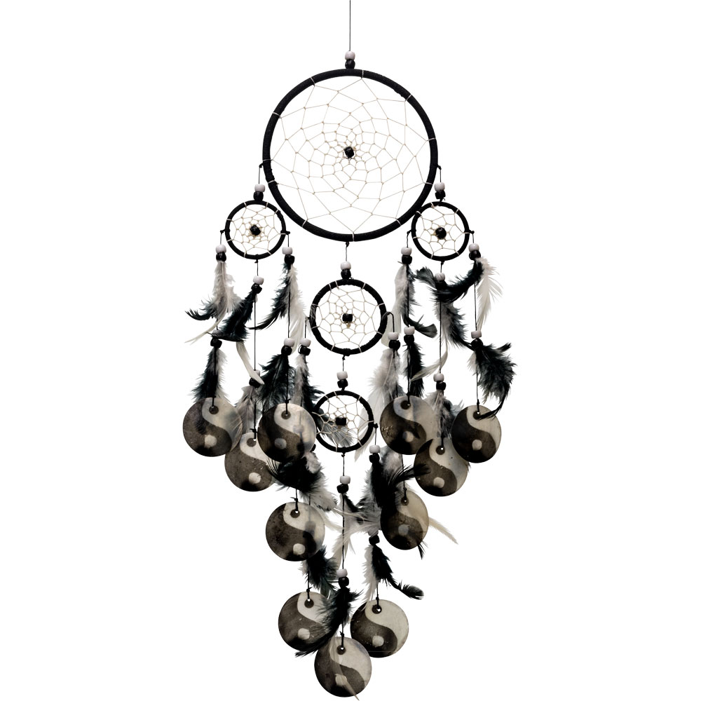 Ying And Yang Multiple layered Black Dreamcatcher