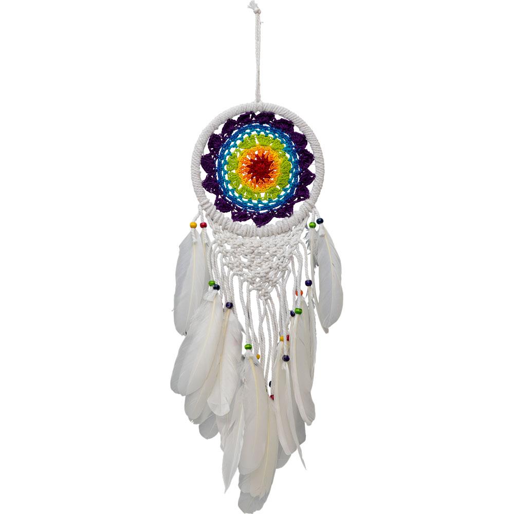 Handmade White Macrame Feathered Dreamcatcher
