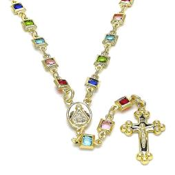 Caridad del Cobre and Crucifix Design with Multicolor Crystal Rosary in Gold Layered