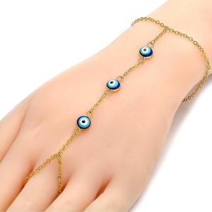 Gold Finger Chain Decor with Blue Evil Eye