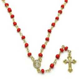 Guadalupe and Crucifix Design with Red Azabache Rosary in Gold Layered