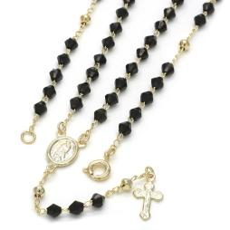 Guadalupe and Crucifix Design with Black Azabache Rosary in Gold Layered