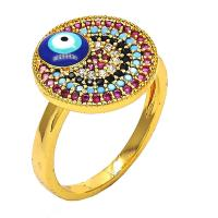 Lucky Eye Gold Layered Multi Stone Rings with Micro Pave - Golden Tone - 7