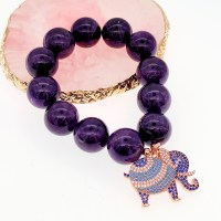 Amethyst Gemstone Beads in Elastic Bracelet with Elephant Charm - Amethyst Elastic Bracelet with CZ Elephant Charm