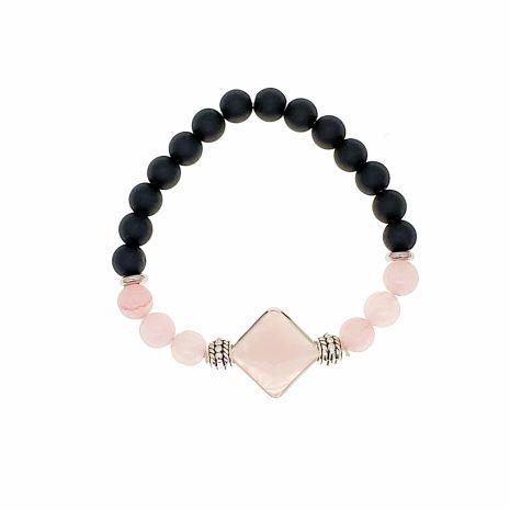Pyramid Shape Faceted Crystal Elastic Bead Bracelets (2)