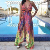 Women Beach Evening Summer Halter Maxi Dresses Free Size - SD-1526