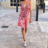 Women Beach Evening Summer Halter Midi Dresses Free Size - SD-2528