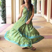 Women Beach Summer Halter Long Dresses Free Size - LONG GREEN 10203