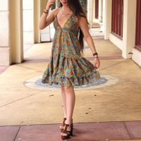 Women Beach Summer Halter Midi Dresses Free Size - SHORT TURQUOISE 10203